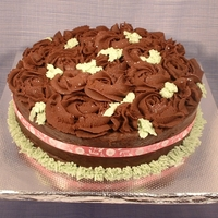 Chocolate Rose Cake Chocolate Mud cake (thank you Pam), covered with chocolate ganache roses and buttercream leaves.