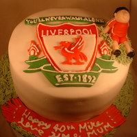 Liverpool Fc 40Th Birthday Cake  Vanilla butter cake filled with vanilla buttercream and strawberry jam, hand cut fondant accents and hand made footballer, based on the...