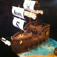 Pirate Ship Cake For My Sons 5Th Birthday Sails Are Made Out Of Gumpaste And Everything Else Fondant Has A Disaster The Day Before Him Pirate ship cake for my son's 5th birthday. Sails are made out of gumpaste and everything else fondant. Has a disaster the day before...