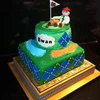 "Golf Course 60Th Birthday Cake 10"" square and 7"" round fondant covered cakes. Sand trap is brown sugar and argyle pattern is fondant squares with royal icing..."