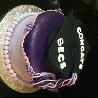 "Girl Graduation Cake Flower border done with tiny flower extractor. Grad cap is a carved 6"" cake covered in fondant and a fondant top."