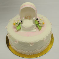 Baby Shower Cake Baby shower cake I made for my advanced cake decorating class. Crib is made out of pastillage, gumpaste flowers and fondant/ accents. TFL...