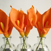 Orange Calla Lilies Orange calla lilies I made to use on a wedding cake. They are made from sugarpaste + CMC and dusted to match the real lilies in the bride&#...