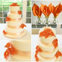 Orange Calla Lilies Chocolate and vanilla wedding cake. The callas are made from sugarpaste mixed with CMC, to match the flowers in the bride's bouquet.