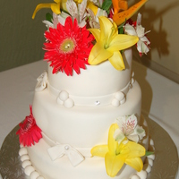 Tropical Flowers Wedding Cake Tropical flowers wedding cake