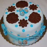 Blue Birthday Cake red velvet cake, with blue foundant a chocolates