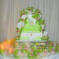 Square Orchid Wedding Cake