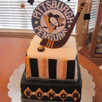 Pittsburg Penguins Hockey Birthday Cake