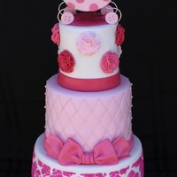 Shades Of Pink Baby Shower Cake With Royal Icing Stenciling Quilted Pattern And Ruffle Flowers The Carriage Is Made From Rice Krispy Treat... Shades of pink baby shower cake with royal icing stenciling, quilted pattern and ruffle flowers. The carriage is made from Rice Krispy...