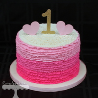 Pink Ombre Ruffle Cake Made With Buttercream Pink Ombre Ruffle Cake made with buttercream
