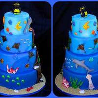 Each Tier Of This Cake Represents A Different Layer Of The Ocean And The Sea Life That Would Love There From Bioluminescent Fish To Bright... Each tier of this cake represents a different layer of the ocean and the sea life that would love there. From bioluminescent fish to bright...