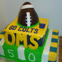 Oms Football This cake was for a football banquet. This was a chocolate and yellow cake covered in buttercream with fondant accents. The football is RKT...