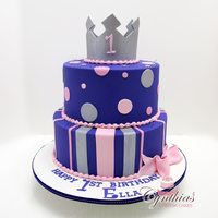 "For Ella 10"" - 8"" All fondant cake with gum paste crown"