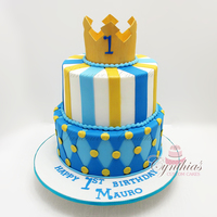 "For Mauro 10"" - 8"" All fondant cake with gum paste crown"
