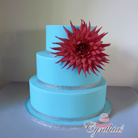 "Wedding Cake With Fresh Flower 10"" - 8"" - 6"" All fondant cake with fresh flower"