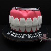 "Teeth Cake! Congratulations Dr. Samrad GhavimiCarved 10"" cakes ... All fondant with gum paste dental tools."