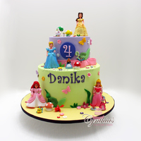 "For Danika 9"" - 6"" All fondant cakes with fondant details and plastic figurines."