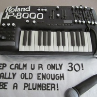 3D Keyboard Cake Done 12 The Size Of Actual Keyboard Vanilla Cake Covered In Chocolate Fondant W Fondant Microphone Also Did Music Notes 3D keyboard cake done 1/2 the size of actual keyboard. Vanilla cake covered in chocolate fondant w/ fondant microphone. Also did music...