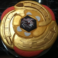 Beyblade Cake!! Il Drago Beyblade cake made for a beyblade obsessed boy :)Lots of gold edible spray was used for this!