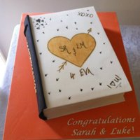 College Book Cake This was to represent highschool sweethearts for their engagement cake.Some guests thought it was real that they went to turn the page...