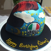 Valentino Rossi Helmet Cake Valentino's head was swapped with an edible pic of my partner's head :)