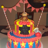 Carnival For a 1st birthday party. Vanilla cake with vanilla buttercream with fondant accents. Money and seal are also fondant.