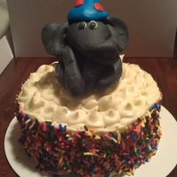 Carnival Smash Cake For a Carnival 1st birthday party. Fondant elephant topper