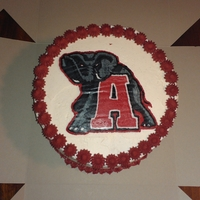 Alabama Roll Tide   Vanilla cake with all buttercream decorations. The elephant logo is a buttercream transfer.