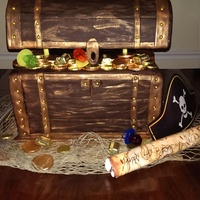 Pirate Chest Cake The Base Is Styrofoam Then Two Layers Of Pound Cake The Lid Is Styrofoam And The Entire Cake Is Covered In Chocolate F  Pirate Chest Cake. The base is Styrofoam, then two layers of pound cake. The lid Is styrofoam, and the entire cake is covered in chocolate...