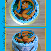 Dragon Boat Themed Birthday Cake