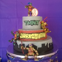 Teenage Mutant Ninja Turtle Cake  3 tier TMNT cake for my son's 9th birthday. Bottom tier is vanilla with apricot filling, middle and top tier are chocolate cake with...