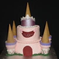 Princess Castle Cake  Princess castle cake for my niece's 3rd birthday. It's 8/6 vanilla cake with apricot filling and grenadine flavored buttercream....