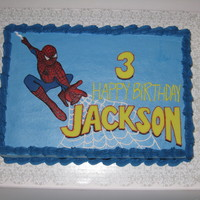 Spiderman Vanilla and chocolate cake w/cookies & cream BC filling, covered in vanilla BC. Fondant spiderman and birthday greeting. Piped BC for...
