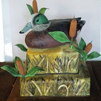 Duck Hunting Birthday Cake Hand painted duck shade camo fondant, hand made cattails from fondant/gumpaste. (That's a decoy on top, not cake! :) )