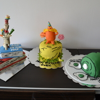 Dr. Seuss Cakes Joint birthday party for 3 kids in the same family.cat in the hat, the lorax, and green eggs and ham