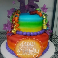 Rainbow Anniversary Cake Anniversary Cake for an art stufio. They wanted bright colors and stars!