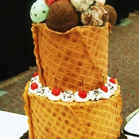 Ice Cream Dream  I made this waffle cone ice cream cake for a cake competition. All decorations are made from fondant, including the ice cream scoops. The...