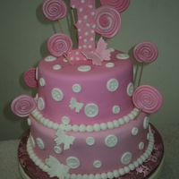 Candy Pops Vanilla cake w/Fondant in 2 tones, &handmade pops,#1 in gumpaste, thebuttoms Wilton plaques.