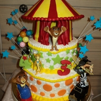 Leo I made my own pattern for the tent in gumpaste, buttercream and yellow cake