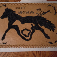 Equestrian Mother And Baby vanilla 12 x 18 sheet cake covered in buttercream. Picture was traced onto cake then filled in with star tipping in black. Rope border.