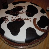 Mr. Workman's Cake 16 inch chocolate cake covered in buttercream with MMF cow hide patches.