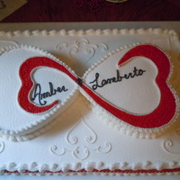 Open Heart Bridal Shower A copy of my prior design but in red and white. Two 11 x 15 sheet cakes covered in butter cream with two 8 inch heart cakes. draw design...