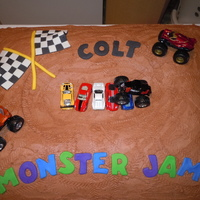 Monster Jam Cake For Colt This is made from 2 12 X 18 sheet cakes. Instead of leveling them I cut an oval out of the middle to give the cake some dimension. Covered...