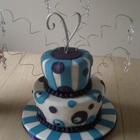 Mad Hatter -Purple And Blue Birthday Cake