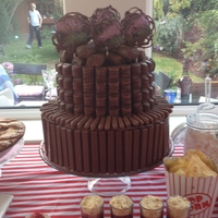 Chocolate Treat Birthday Cake A very lazy birthday cake, KitKats, Kinder buenos, Cadburys fingers, swill rolls and hand made chocolate lollies! Bottom tier polystyrene,...