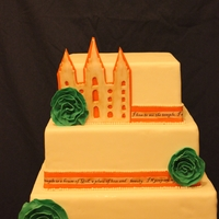 "Lds Temple Wedding Cake The building on top is a LDS temple where the marriage took place. The word strips are rice paper with edible image words to a song ""I..."