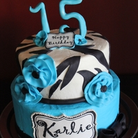 Zebra And Blue Buttercream with fondant accents.