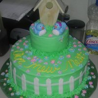 House Warming Fondant birdies, litlle wood bird house. Just a quickie cake for a friends BBQ