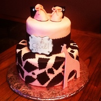 Giraffe Theme Baby Shower Cake Wbaby Booties   Giraffe theme Baby Shower CakeW/baby booties