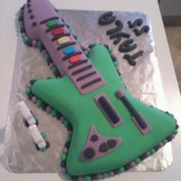 Guitar Hero Cake For A Girl This was for my friends daughters birthday - the origonal guitar that it was modeled off was black and white, but she had to have it green...